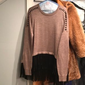 Sweaters - Wool sweater with faux leather trim